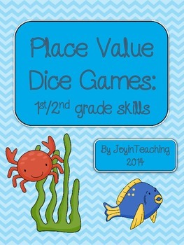 1st/2nd grade Place Value Dice Games: 18 games- id value/e