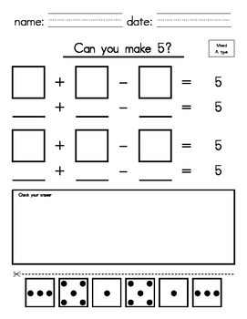 1st_2nd Grade - Make 5 with Addition & Subtraction (cut an