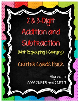 2 & 3 Digit Addition and Subtraction Cards Pack (2.NBT.5 &
