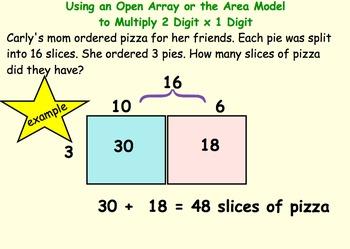 2-3 Digit Area Model Multiplication Smartboard and Workshe
