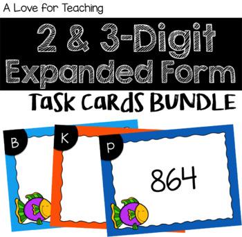 2 & 3 Digit Expanded Form Task Cards BUNDLE