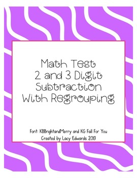 2 & 3 Digit Subtraction Test