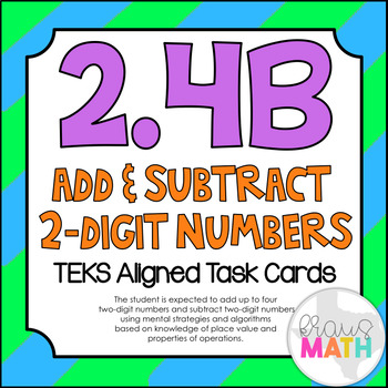 2.4B: Add & Subtract 2-Digit Numbers TEKS Aligned Task Car