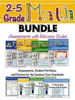 2-5 Grade Math Bundle with Marzano Scales