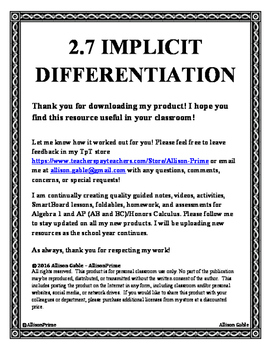2.7 Implicit Differentiation