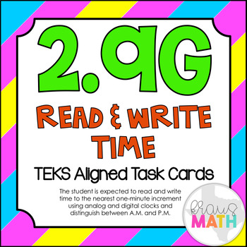 2.9G: Telling & Writing Time TEKS Aligned Task Cards (GRADE 2)