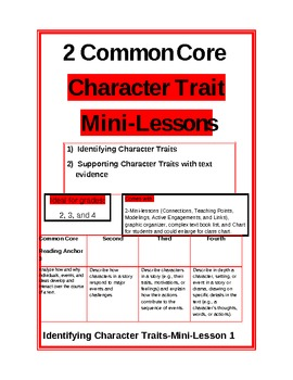 2 Common Core minilessons on character traits with additio