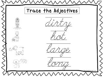 2 Cursive Trace the Adjectives Worksheets. KDG-2nd Grade H