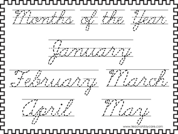 2 Cursive Trace the Months of the Year Worksheets. KDG-2nd