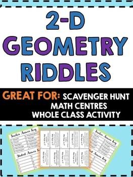 2-D Geometry Riddles -Scavenger hunt,Math Centres,Class Ac