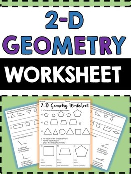 2-D Geometry Worksheet - 2 pages - Angles, Symmetry, Congr
