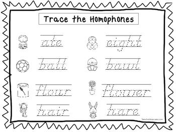 2 D'Nealian Trace the Homophones Worksheets. Preschool-2nd