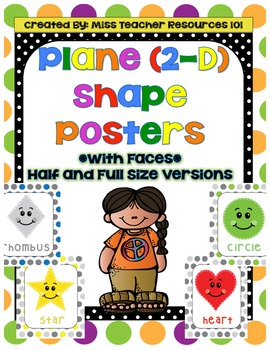 2-D (Plane) Shape Posters with Faces!  Full/Half Sizes-Lar