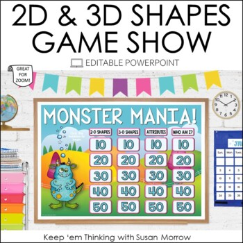 2-D and 3-D Shapes Jeopardy Style Game Show - Editable!
