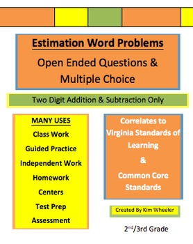 2 DIGIT Estimation Word Problems Addition & Subtraction -