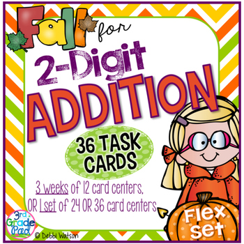 2-Digit Addition 36 Task Cards with Optional QR Code and I