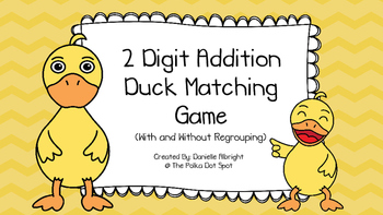 2 Digit Addition Duck Matching Game