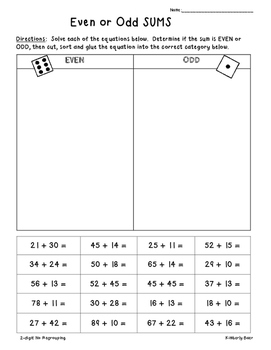 2-Digit Addition Even/Odd Sorting Activity -- 2 Leveled Wo