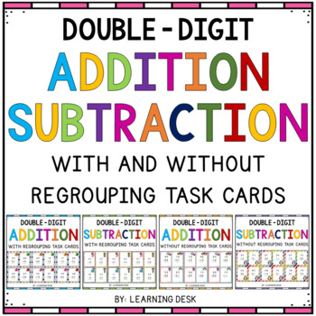 2 Digit Addition and Subtraction Task Cards