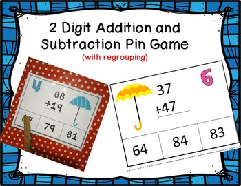 2 Digit Addition and Subtraction with Regrouping Clothespin Game