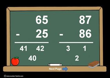 2 Digit Minus 2 Digit NO Regrouping-PowerPoint Quiz - Matc