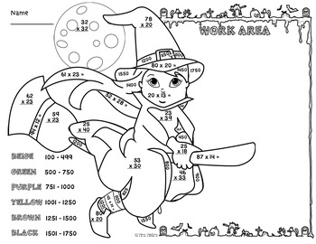 2 Digit Multiplication Color by Number Halloween Witch