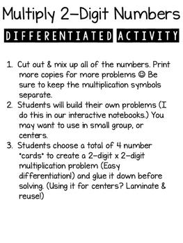 2-Digit Multiplication Create & Solve