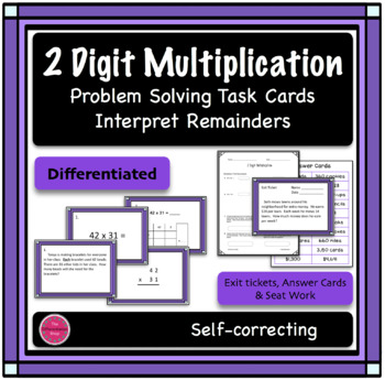 2 Digit Multiplication Differentiated Word Problem Task Ca