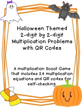 2 Digit Multiplication with QR Codes - Halloween Themed