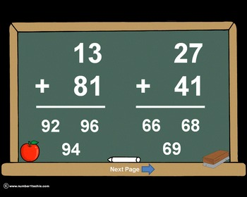 2 Digit Plus 2 Digit NO Regrouping-PowerPoint Quiz - Match