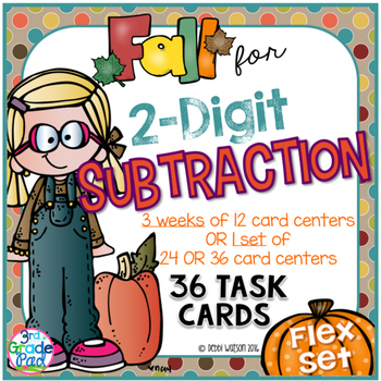 2-Digit Subtraction 36 Task Cards with Optional QR Code an