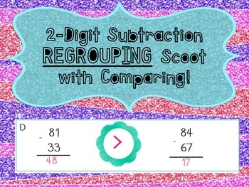 2-Digit Subtraction (REGROUPING) Scoot with Comparing! [CC