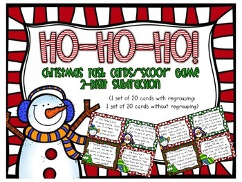 Christmas 2-Digit Subtraction Task Cards/Scoot Game (with/