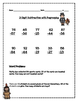 2-Digit Subtraction with Regrouping- Thanksgiving Themed