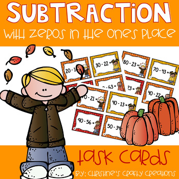 2-Digit Subtraction with Zeros Task Cards