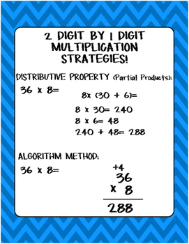 2 Digit by 1 Digit Multiplication Poster!
