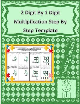 2 Digit by 1 Digit Multiplication Step by Step Worksheet (