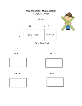 2 Digit x 1 Digit Area Model for Multiplication Worksheet-