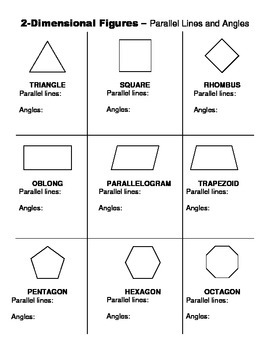 2 Dimensional Shapes - Angles and Parallel Lines