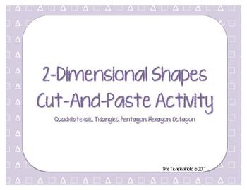 2-Dimensional Shapes - Cut & Paste Activity