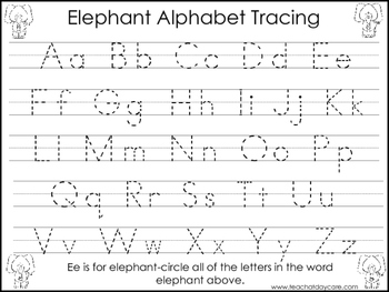 2 Elephant themed Task Worksheets. Trace the Alphabet and