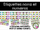 2 Ensembles d'étiquettes - Noms et Numéros