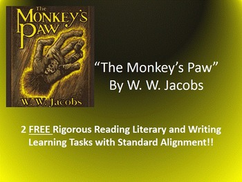 """2 FREE Common Core Learning Tasks for W. W. Jacobs's """"The"""