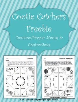 2 FREE Cute Cootie Catchers (Common/Proper Nouns and Contr