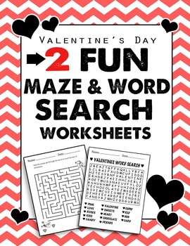 2 Fun Valentines Day Maze and Word Search Worksheets