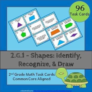 2.G.1 Task Cards: Shapes: Identify, Recognize, & Draw (Sec