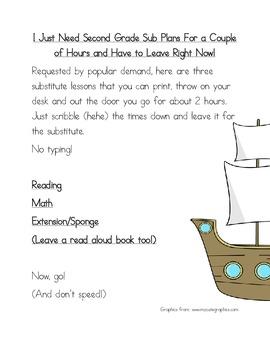 2 Hour No PrepSubstitute Lesson Plan, Second Grade, Set 1