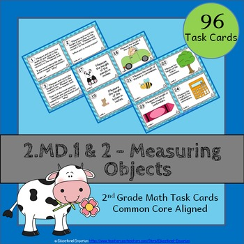 2.MD.1 & 2.MD.2 Task Cards: Measuring Objects (Second-Grad