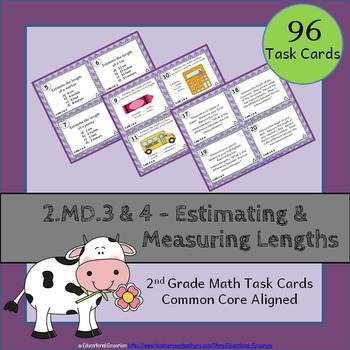 2.MD.3 & 2.MD.4 Task Cards: Estimating & Measuring Lengths