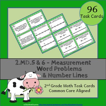 2.MD.5 & 2.MD.6 Task Cards: Word Problems & Number Lines T
